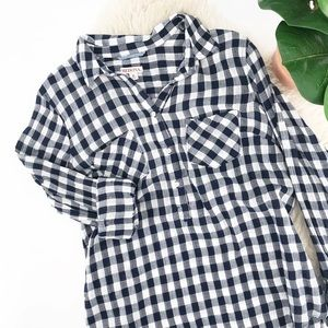 Merona XL Half Button Down Gingham Navy and White